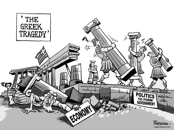 Paresh Nath - The Khaleej Times, UAE - Greek Tragedy - English - Greece, economy, eurozone crisis, debt crisis, politics, coalition govt, factions, no unity