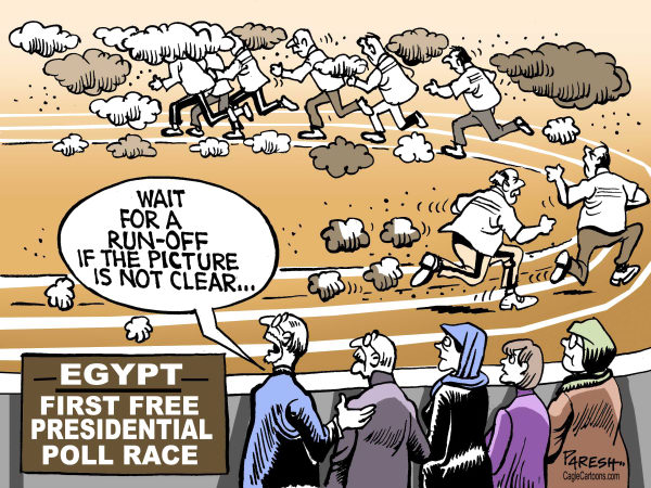 Paresh Nath - The Khaleej Times, UAE - Poll race in Egypt - English - presidential poll, Egypt, first free poll, post-Mubarak period, run-off, clear winner, confusion, democracy in middle east