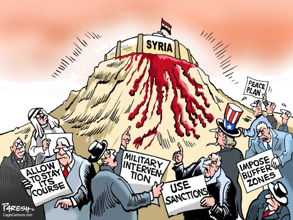 Paresh Nath - The Khaleej Times, UAE - Options for Syria - English - Syria, Bashir al Assad, bloodshed,violence,Middle East killings,military intervention,buffer zones,sanctions, peace plan