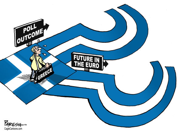 Paresh Nath - The Khaleej Times, UAE - Questions on Greece - English - Greece, flag, question marks, Greek election, future in Euro, eurozone crisis, debt