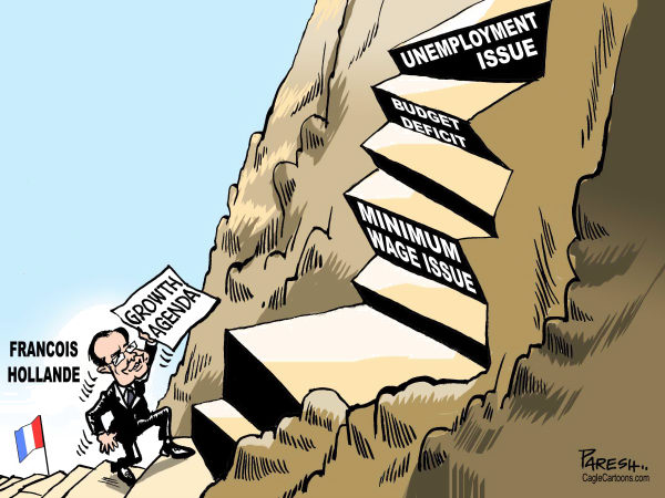 Paresh Nath - The Khaleej Times, UAE - Steps of Hollande - English - Francois Hollande, France, President, french economy, steps, minimum wage issue, budget deficit, retirement age issue, unemployment