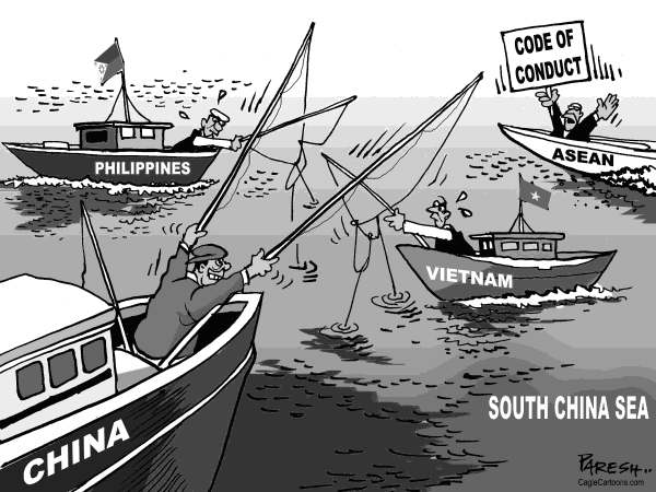 Paresh Nath - The Khaleej Times, UAE - South China sea - English - South China sea, trobled waters, China bully, Vietnam, Philippines, maritime issues,ASEAN, code of conduct, fishing, Asia issue