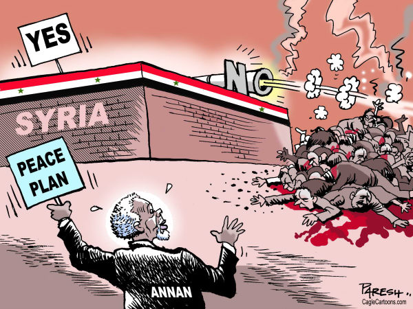 Syria on peace plan © Paresh Nath,The Khaleej Times, UAE,Syria, Assad, Kofi Annan, peace plan, yes no,violence, civilian killings,civil war