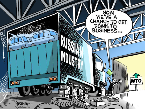 Russia in WTO © Paresh Nath,The Khaleej Times, UAE,WTO, Trade organisation member, Russia,Russian Industry,doldrums,chance for business, green signal, WTO entry
