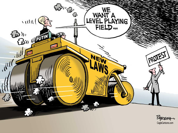 Putin's new laws © Paresh Nath,The Khaleej Times, UAE,Putin, Russia, protesters, opposition, repression,new laws, harsh treatment, road roller, level playing field
