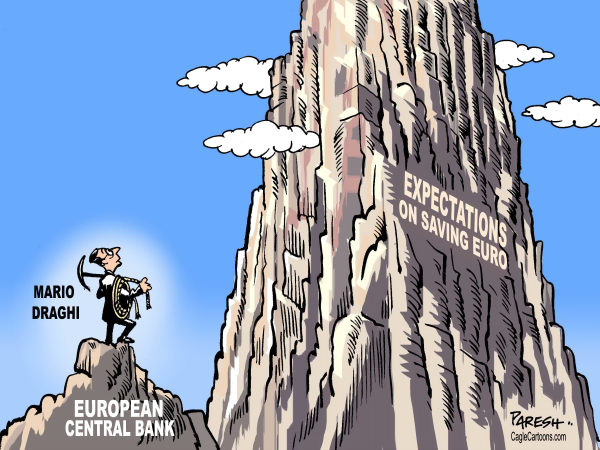 Expectations on ECB © Paresh Nath,The Khaleej Times, UAE,European Central bank, Mario Draghi,mountaineering,expectations, Greece, debt crisis, banking crisis, Spain, Portugal