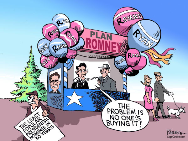 Plan Mitt Romney © Paresh Nath,The Khaleej Times, UAE,Mitt Romney, Paul Ryan, marketing Romney,Republican party nominee, USA presidential poll,least popular