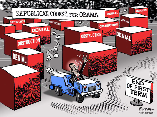 Paresh Nath - The Khaleej Times, UAE - Republican course for Obama - English - Republican party, Obama, Presidency, denial, obstruction, maze, labyrinth, GOP course