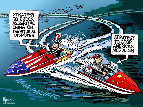 Paresh Nath - The Khaleej Times, UAE - China, USA in Pacific COLOR - English - China, USA, Uncle Sam,speed boat,strategy, checking assertive China,territorial dispute, South China sea,american meddling, Asia-pacific, Japan, Vietnam, Philippines