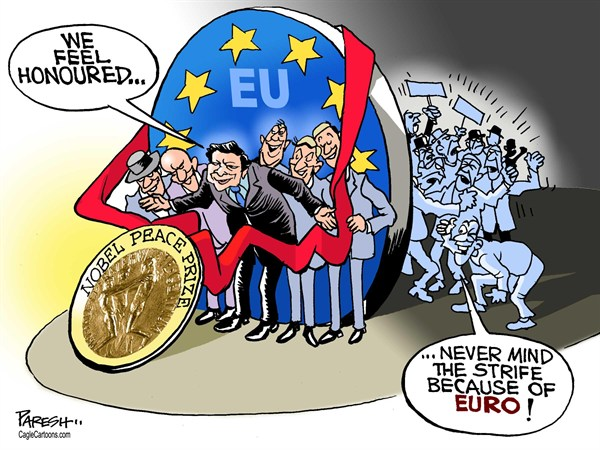 Nobel prize for EU © Paresh Nath,The Khaleej Times, UAE,Nobel peace prize,European Union,Jose Barrosso,EC chief,eurozone crisis,civil strife,euro, european nobel prize