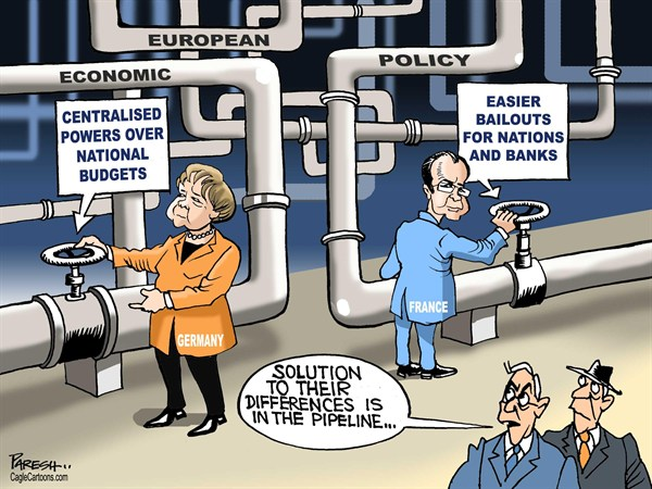 Paresh Nath - The Khaleej Times, UAE - European differences COLOR - English - Euroean economic policy, Angela Merkel,Holland, France, Germany, budgets,bailout, eurozone crisis, pipeline