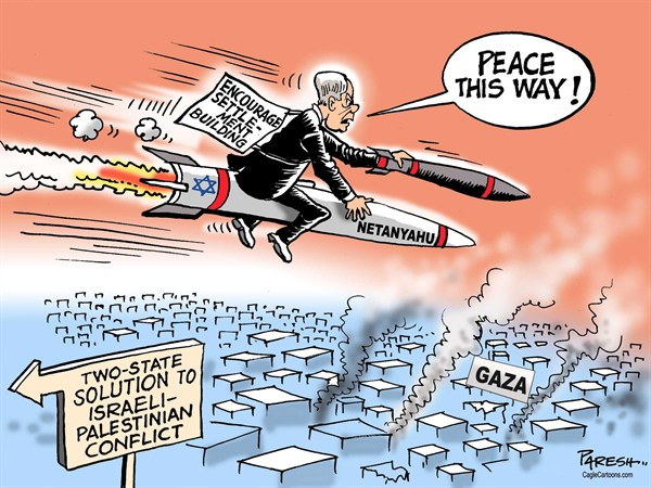 Paresh Nath - The Khaleej Times, UAE - Israeli rocket solution COLOR - English - Israel, Gaza, rocket firing,war, Hamas, Netanyahu, illegal settlement, two-state solution, Middle east conflict, Palestine, peace