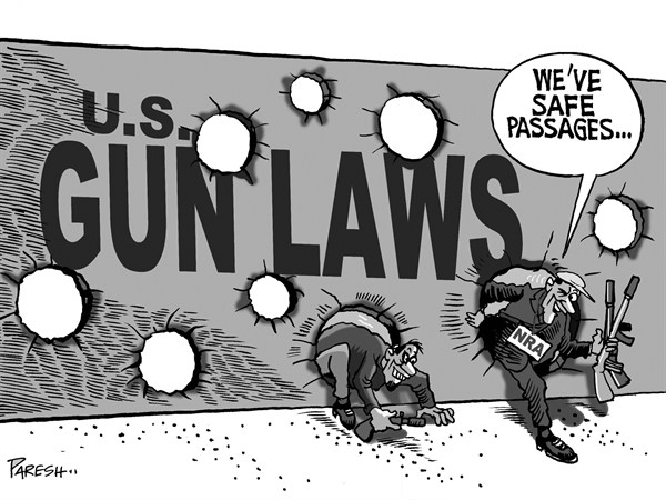 Paresh Nath - The Khaleej Times, UAE - Gun Laws loopholes - English - Gun Laws, USA culture,violence, Newton shootings, NRA, passage, loopholes, gun debate, children killings, rifles, selling arms
