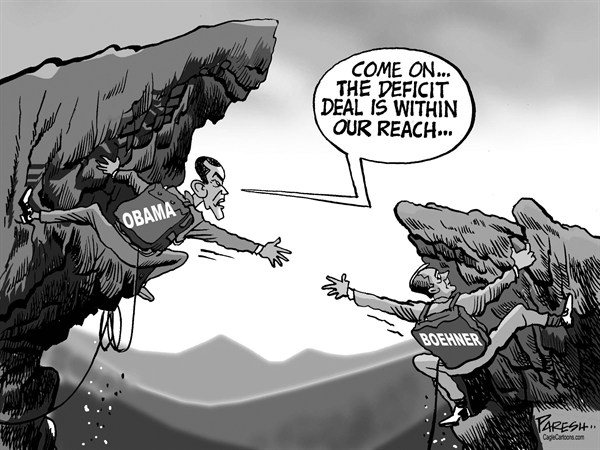 Paresh Nath - The Khaleej Times, UAE - US Cliff Talks - English - USA Economy, fiscal cliff, deficit deal, Obama, Boehner, Congress, Speaker, Democrats, GOP, gulf, standoff, cliffhangers