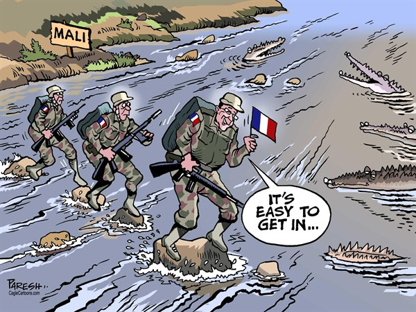 Paresh Nath - The Khaleej Times, UAE - France in Mali COLOR - English - France, Mali, Africa violence,Islamic rebels, French troops, crocodiles, danger level, easy to get in
