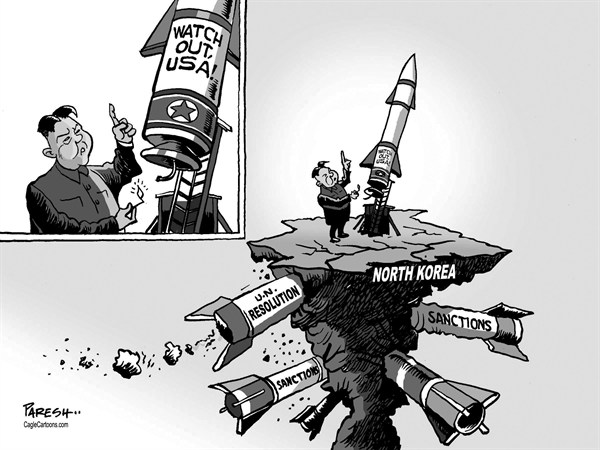 Paresh Nath - The Khaleej Times, UAE - N.Korean rocket - English - 		North Korea,rocket threat,Watch out USA,UN resolution,sanctions,Kim Jong-un,noclear weapon,plutonium,uranium