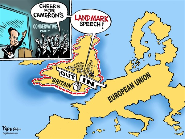 Paresh Nath - The Khaleej Times, UAE - Cameron's EU politics - English - 		David Cameron,British policy,European Union membership,referendum,in or out,landmark speech,UK conservative party,Britain and EU