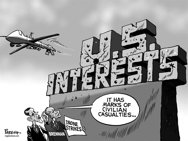 Paresh Nath - The Khaleej Times, UAE - Drone strikes - English - Drones, USA, CIA, Brennan, Obama, US interests, civilian casualties