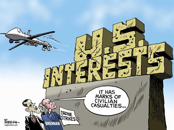 Paresh Nath - The Khaleej Times, UAE - Drone strikes COLOR - English - Drones, USA, CIA, Brennan, Obama, US interests, civilian casualties