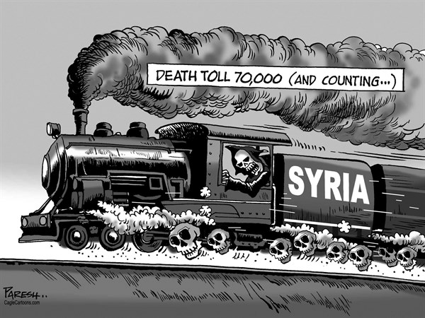 Paresh Nath - The Khaleej Times, UAE - Syria death toll - English - Syria, violence, Assad, civil war,70, 000 death toll, skulls, death train, Middle East crisis