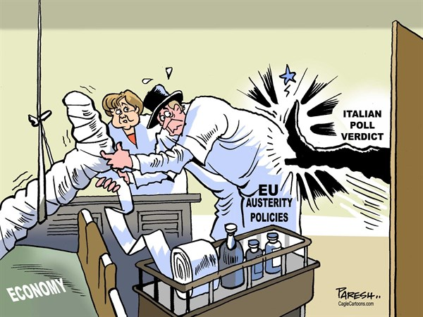 Paresh Nath - The Khaleej Times, UAE - Italian poll verdict COLOR - English - Italy, poll verdict, austerity policies, European Union, eurozone, financial crisis,Italian shoe, Angela Merkel