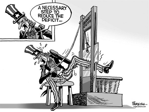 Paresh Nath - The Khaleej Times, UAE - U.S. Budget cuts - English - 		US economy,budget cuts,Spending cuts,deficit,Uncle Sam,cutting leg,guilotine
