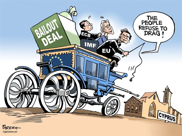 Paresh Nath - The Khaleej Times, UAE - Cyprus crisis COLOR - English - Cyprus, financial crisis, banking issue, bailout deal, troika, EU, ECB, IMF, horse cart, euro crisis, bailout rejection