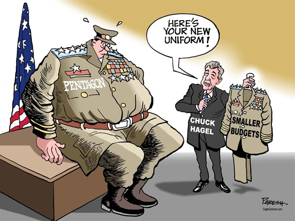 Paresh Nath - The Khaleej Times, UAE - Cuts for Pentagon COLOR - English - Pentagon, sequester, spending cuts, defence cuts, USmilitary, uniform, smaller budgets, Chuck Hagel, Defence Secretary