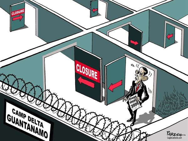 Paresh Nath - The Khaleej Times, UAE - Obama on Guantanamo COLOR - English - Obama, Guantanamo, delta prison, closure, maze, labyrinth