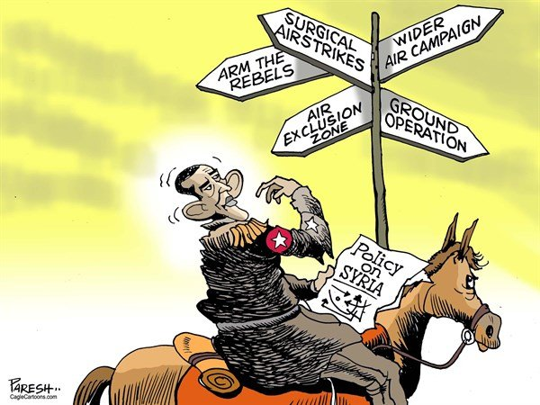 Paresh Nath - The Khaleej Times, UAE - Obama on Syria - English - Obama, Syria policy, US foreign policy, arm rebels, surgical airstrikes, wider air campaign, ground operation, air exclusion zone, crossroad