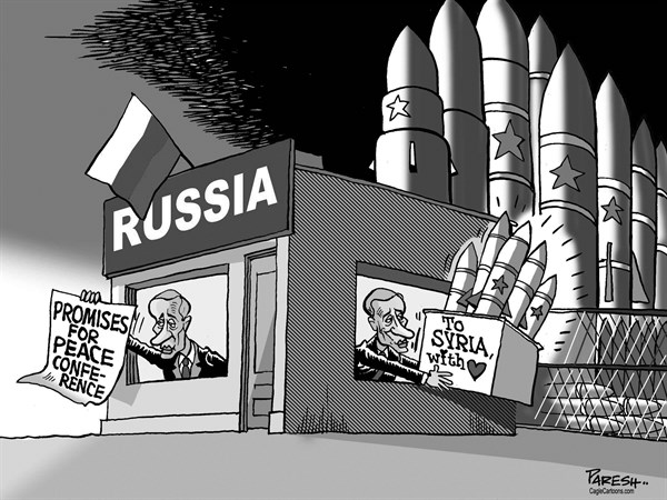 Paresh Nath - The Khaleej Times, UAE - Russia on Syria - English - Russia, Vladimir Putin, Peace conference promise, arms to Syria, anti-ship missiles, arms aid, civil war, Syrian regime