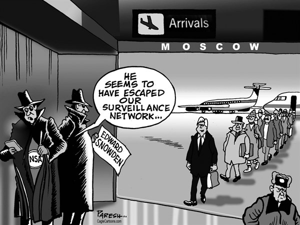 Paresh Nath - The Khaleej Times, UAE - Snowden escapes - English - Edward Snowden, NSA, intelligence, fugitive escape, surveillance network, spying, cyberspying, Moscow, HongKong, Ecuador, airport arrivals