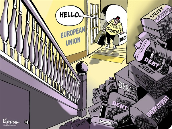 Paresh Nath - The Khaleej Times, UAE - Croatia enters EU COLOR - English - Croatia, European Union, EU membership, Croatian debt, unemployment, eurozone debt, sovereign debt baggage, Croatian entry