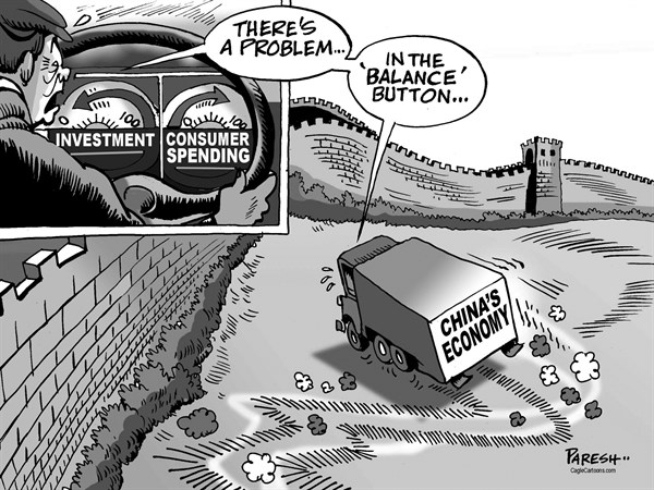 Paresh Nath - The Khaleej Times, UAE - China's economy - English - Chinas economy,investment, consumer spending, imbalance, china wall, balance button, economic troubles