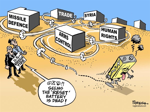 RESET battery © Paresh Nath,The Khaleej Times, UAE,US-Russia ties, Reset button, Reset battery, Arms control, missile defence, human rights, Syria, trade, dead battery, cancelling summit