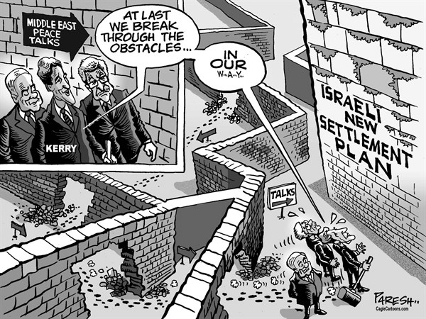 Paresh Nath - The Khaleej Times, UAE - Blocking peace talks - English - Middle East, peace talks, Israel, Palestine, Abbas, Netanyahu, obstacle walls, new settlement plan, breakthrough