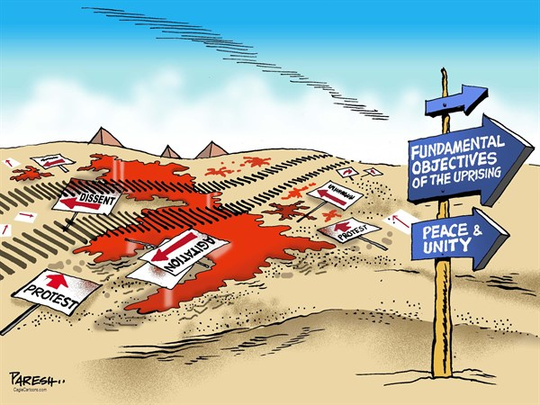 Paresh Nath - The Khaleej Times, UAE - Arab Spring objectives - English - Arab Spring, revolution, dissent, protests, Muslim Brotherhood, blood, violence, army action, Tank,peace and unity, fundamental objectives, missing direction