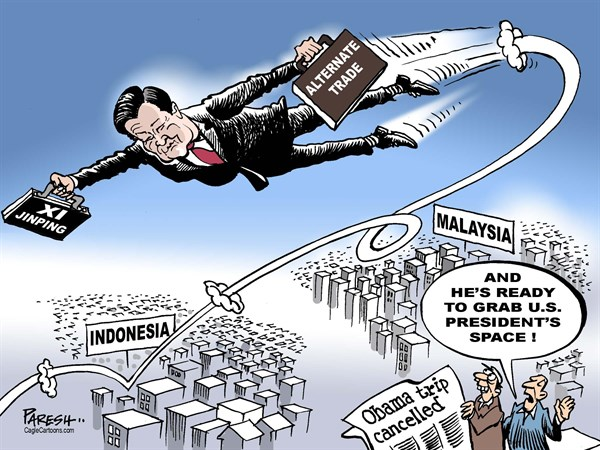 Paresh Nath - The Khaleej Times, UAE - Obama Asia trip COLOR - English - Obama, President of USA, Asia trip cancelled, govt shutdown, Xi Jinping, China, Indonesia, Malaysia, taking US space,alternate trade