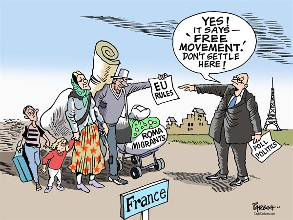 Paresh Nath - The Khaleej Times, UAE - Expelling Roma migrants COLOR - English - Romanian migrants, expulsion, France, EU rules, human rights in France,poll politics, free movement, gypsies