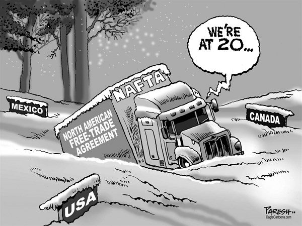 Paresh Nath - The Khaleej Times, UAE - NAFTA at 20 - English - NAFTA, North American Free-Trade Agreement, North American ice, twenty years'  trade, Canada, USA, Mexico