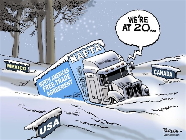 Paresh Nath - The Khaleej Times, UAE - NAFTA at 20 COLOR - English - NAFTA, North American Free-Trade Agreement, North American ice, twenty years'  trade, Canada, USA, Mexico