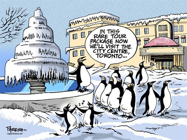 Paresh Nath - The Khaleej Times, UAE - North American chill COLOR - English - North America, Arctic ice, Freezing America, Canada cold, snowfall, record chill, penguins tour, tour package, Toronto travel, City centre Toronto