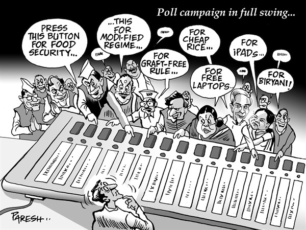 Paresh Nath - The Khaleej Times, UAE - Indian Poll campaign - English - India, general elections, poll 2014, Electronic voting machine, poll promises, food security, Modi, graft-free rule, laptops, voter, cheap rice