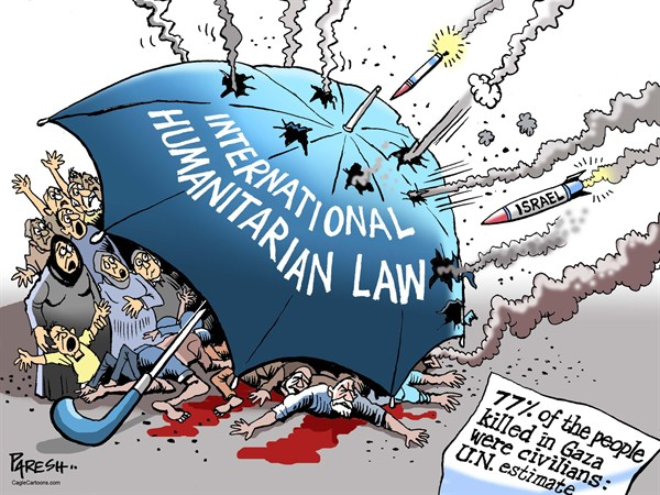 Attacking Civilians © Paresh Nath,The Khaleej Times, UAE,Gaza, Gazan civilians, attacking civilians, Israeli rockets, Humanitarian Law, Umbrella protection, UN estimate, Gaza killings, Palestine