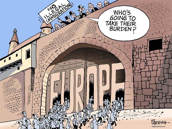 EU illegal immigration © Paresh Nath,The Khaleej Times, UAE,European Union, Europe fort, immigration, African refugees, Syrian refugees, MidEast refugees, border security, flow of migrants
