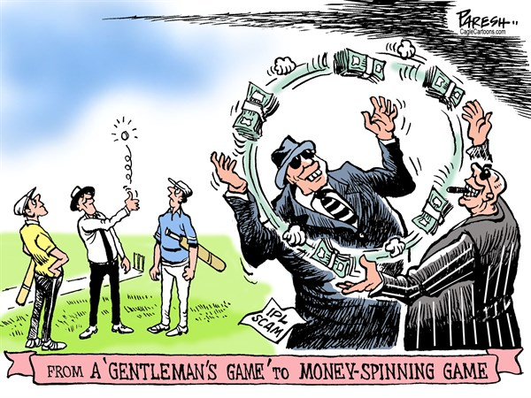 Cricket IPL scam © Paresh Nath,The Khaleej Times, UAE,Cricket, Indian Premier League, scam, gentleman's game, money-spinning game, match-fixing, cricket players, organizers, India, Australia, England, South Africa, Bangladesh