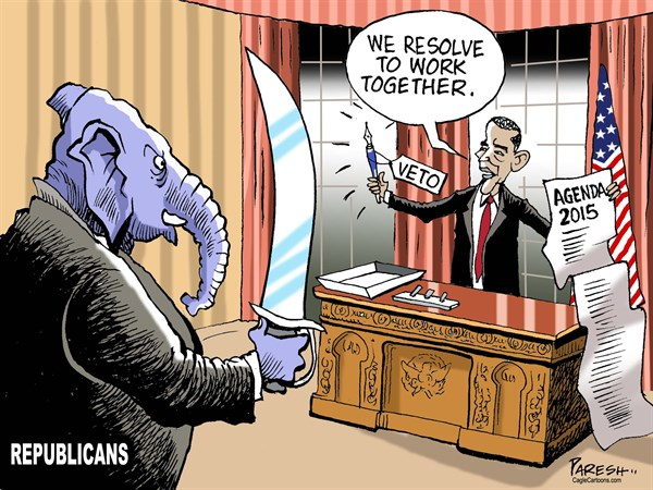 Obama in 2015 © Paresh Nath,The Khaleej Times, UAE,President Obama, Republicans, aggressive, USCongress, Presidents veto power, sword versus pen, resolve to work, bipartisanship, Obama power