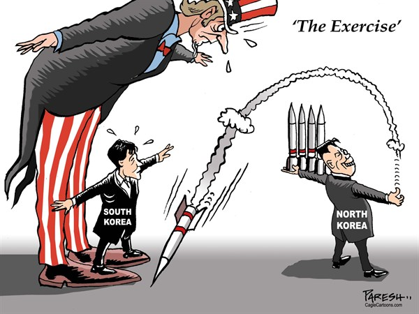 Military exercise © Paresh Nath,The Khaleej Times, UAE,Asia pacific, North Korea, missiles, South Korea, USA, naval drill, military exercise, Kim Jong-un