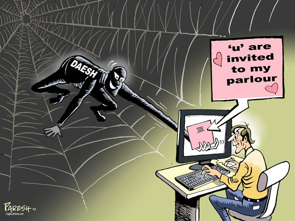 ISIS recruitment © Paresh Nath,The Khaleej Times, UAE,Libya, Iraq, Syria, ISIS, terror, Daesh, web, spider's web, internet, attracting youth, luring youngsters, invitation