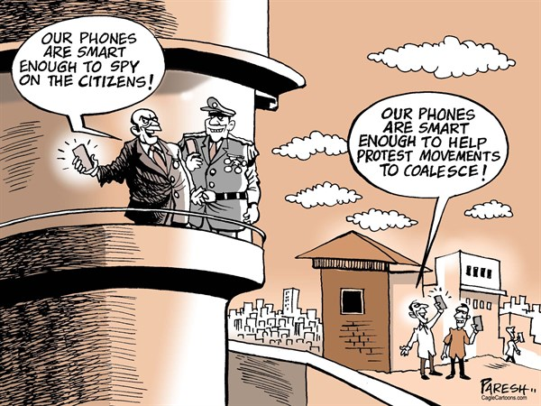 Age of Smartphone © Paresh Nath,The Khaleej Times, UAE,Smartphone, dictators, rulers, spy on citizens, social media, protests, movements, awareness, rebellion, human rights, voice against oppression, free speech